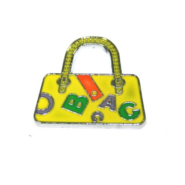 1pce x 24*22mm rhodium plated yellow handbag with letters enamel charm - SD03 - CHE1207